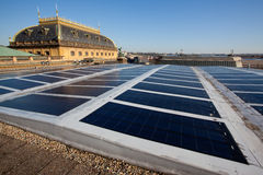 Photovoltaic panels on historical building Royalty Free Stock Images