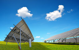 Photovoltaic panels on meadow. Royalty Free Stock Photos