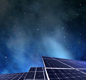 Photovoltaic panels in night. Stock Image