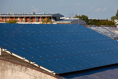 Photovoltaic panels on the roof Stock Photos