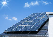 Photovoltaic panels on the roof. Solar energy Royalty Free Stock Photos