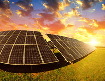 Photovoltaic panels at sunset. Stock Image