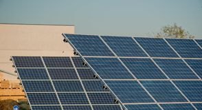 Solar panels. Photovoltaic panels to create industrial energy Stock Image