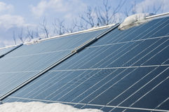 Photovoltaic panels under the snow Stock Photos