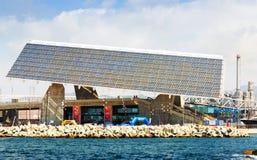 Photovoltaic platta på forumområde i Barcelona Arkivfoto