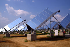 Photovoltaic power plant. With automatic moving Stock Image