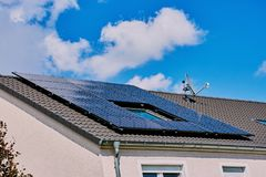 Photovoltaic power plant on a rooftop royalty free stock photography
