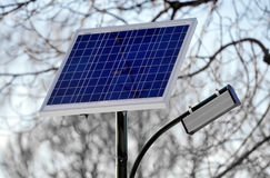 Photovoltaic public lighting in a park Royalty Free Stock Image