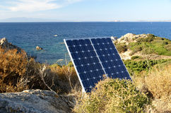 Photovoltaic and the sea. Photovoltaic panel and the blue sea in sardinia Stock Photos