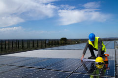 Photovoltaic skilled worker Stock Photos