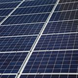 Solar energy panels mounted at wall. Photovoltaic solar energy panels, alternative electricity source, cheap and clean energy Royalty Free Stock Photos
