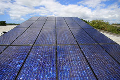 Photovoltaic solar on house. A set of photovoltaic solar modules mounted on a house Stock Images