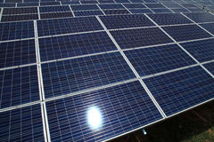 Photovoltaic solar modules for producing electricity Stock Photo