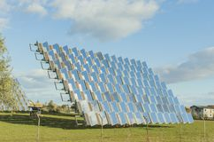 Photovoltaic solar panel in an solar orchard royalty free stock photography