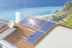 Photovoltaic solar panel sun sea colors. Roof, energy Stock Images