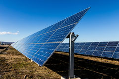 Photovoltaic solar panels in the field Stock Photos