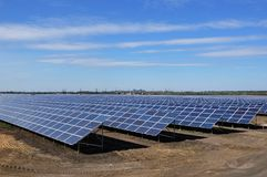 Photovoltaic solar panels in a power plant. Royalty Free Stock Image