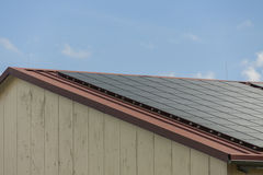 Photovoltaic solar panels on a roof Royalty Free Stock Photos