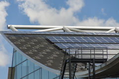Photovoltaic solar panels on a roof Stock Photo