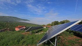 Photovoltaic solar plant in the mountain. Stock Images