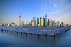 Photovoltaic solar power plants Shanghai Bund Lujiazui skyline sustainable clean energy. Eastphoto, tukuchina,  Photovoltaic solar power plants Shanghai Bund Royalty Free Stock Photography