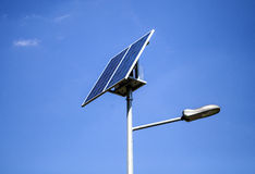Photovoltaic Sun Powered Street Light Against Blue Sky Royalty Free Stock Images