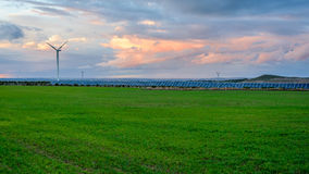 Photovoltaic and wind farms in the province of Albacete II Royalty Free Stock Photo
