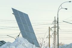 View of photovoltaic in winter covered with snow royalty free stock images
