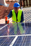 Photovoltaic worker Royalty Free Stock Photos
