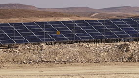 Photovoltaics in desert solar power farm in the Negev desert, Israel. stock footage
