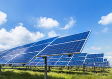 Photovoltaics module solar panels in solar farm station royalty free stock photography