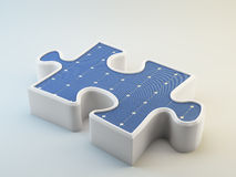Photovoltaics panel shaped like a puzzle piece Stock Images