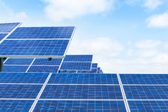 Photovoltaics solar panels in solar farm. Ecological  power for alternative  energy Royalty Free Stock Photography