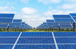 Photovoltaics solar panels in solar farm. Energy from the sun Royalty Free Stock Photos