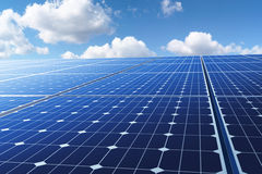 Photovoltaics. Ssolar energy panels before cloudy sky Royalty Free Stock Photos