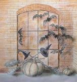 Photozone de Halloween con los palos y las calabazas fotos de archivo
