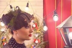Photozone mit einem Innenweihnachten, neues Jahr stockfotografie