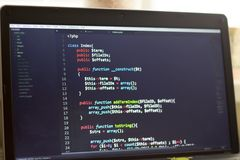 PHP back-end code. Computer programming source code. Abstract screen of web developer. Digital technology modern background. Code is created by myself royalty free stock image