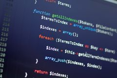 PHP back-end code. Computer programming source code. Abstract screen of web developer. Digital technology modern background. Code is created by myself stock image