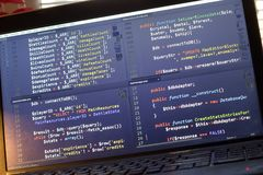 PHP back-end code. Computer programming source code. Abstract screen of web developer. Digital technology modern background. Code is created by myself royalty free stock photography