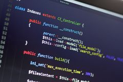 PHP back-end code. Computer programming source code. Abstract screen of web developer. Digital technology modern background. Code is created by myself royalty free stock photo