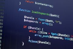 PHP back-end code. Computer programming source code. Abstract screen of web developer. Digital technology modern background. Code is created by myself stock photos