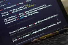 PHP back-end code. Computer programming source code. Abstract screen of web developer. Digital technology modern background. Code is created by myself stock photo
