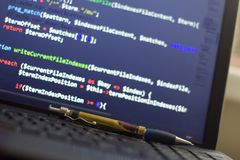 PHP back-end code. Computer programming source code. Abstract screen of web developer. Digital technology modern background. Code is created by myself royalty free stock photos