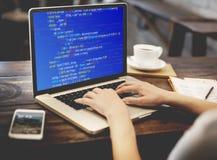 PHP che programma concetto del Cyberspace di codifica del HTML immagini stock libere da diritti