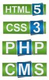 PHP CMS DEL HTML CSS Imagen de archivo libre de regalías