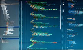 Php code on blue background in code editor. Closeup royalty free stock photography