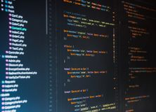 Php code on dark background in code editor. Close up stock image