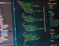 Php code on dark background in code editor. Close-up stock image