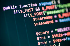 PHP code lines on a monitor Stock Image